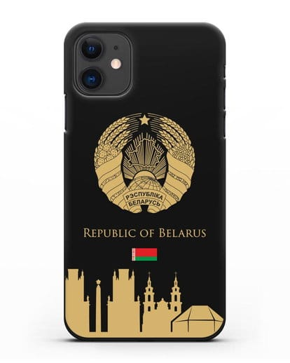Чехол с гербом Беларуси и силуэтами Минска с надписью на английском языке силикон черный для iPhone 11