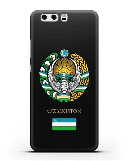 Чехол с гербом и флагом Республики Узбекистан силикон черный для Huawei P10 Plus