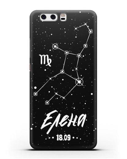 Чехол со знаком зодиака Дева (24 авг — 23 сен) с именем, датой рождения силикон черный для Huawei P10 Plus