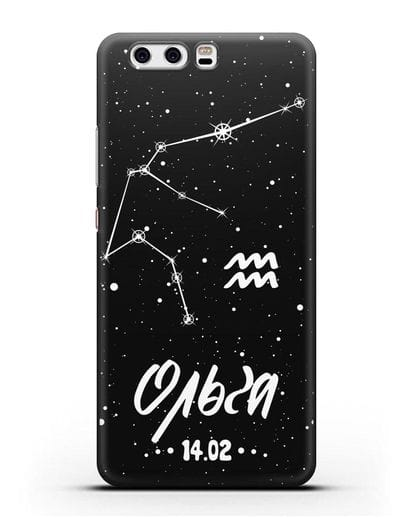 Чехол со знаком зодиака Водолей (21 янв — 19 фев) с именем, датой рождения силикон черный для Huawei P10 Plus