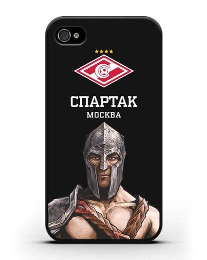 Чехол ФК Спартак Москва Гладиатор силикон черный для iPhone 4/4s