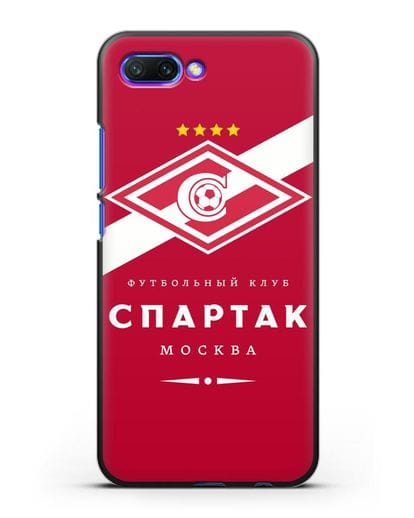 Чехол с логотипом ФК Спартак Москва с красным фоном силикон черный для Honor 10
