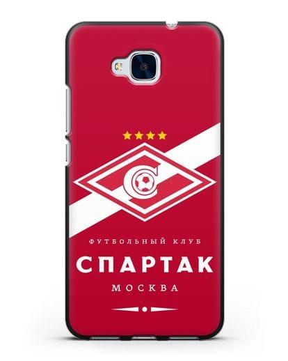 Чехол с логотипом ФК Спартак Москва с красным фоном силикон черный для Honor 5C