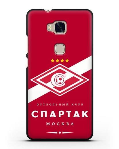 Чехол с логотипом ФК Спартак Москва с красным фоном силикон черный для Honor 5X