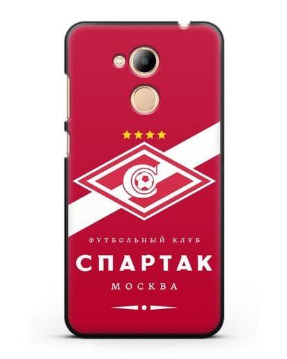 Чехол с логотипом ФК Спартак Москва с красным фоном силикон черный для Honor 6C Pro