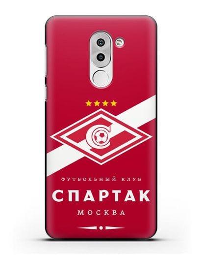 Чехол с логотипом ФК Спартак Москва с красным фоном силикон черный для Honor 6X