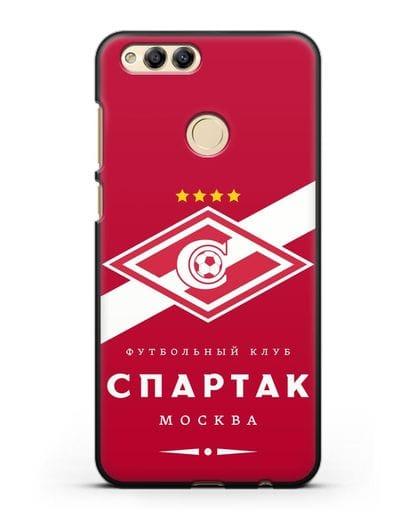 Чехол с логотипом ФК Спартак Москва с красным фоном силикон черный для Honor 7X