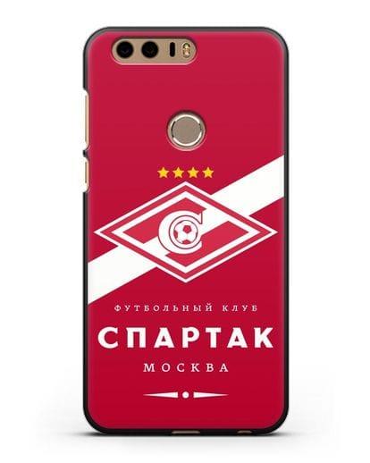 Чехол с логотипом ФК Спартак Москва с красным фоном силикон черный для Honor 8