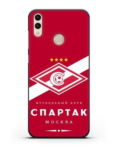 Чехол с логотипом ФК Спартак Москва с красным фоном силикон черный для Honor 8C