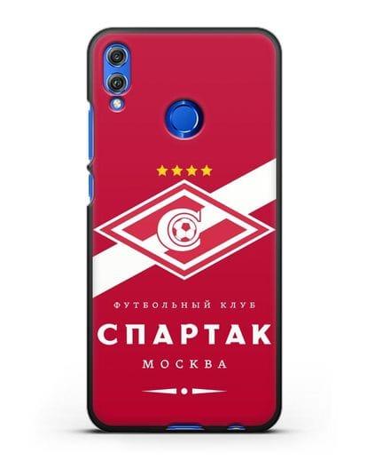 Чехол с логотипом ФК Спартак Москва с красным фоном силикон черный для Honor 8X