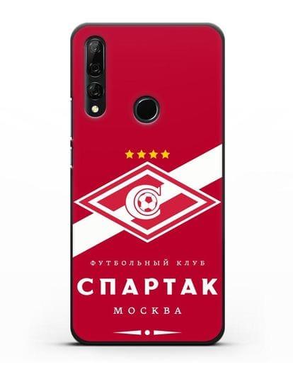 Чехол с логотипом ФК Спартак Москва с красным фоном силикон черный для Honor 9X