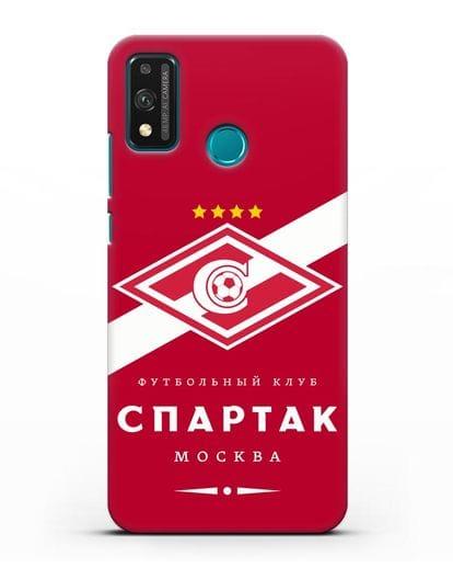 Чехол с логотипом ФК Спартак Москва с красным фоном силикон черный для Honor 9X lite