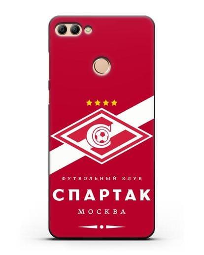 Чехол с логотипом ФК Спартак Москва с красным фоном силикон черный для Huawei Y9 2018