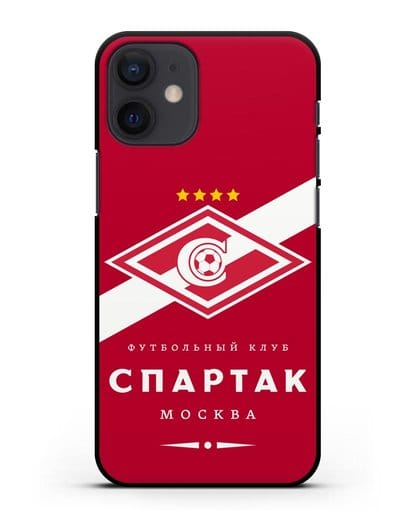 Чехол с логотипом ФК Спартак Москва с красным фоном силикон черный для iPhone 12 mini