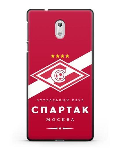 Чехол с логотипом ФК Спартак Москва с красным фоном силикон черный для Nokia 3