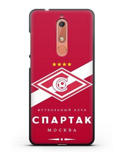 Чехол с логотипом ФК Спартак Москва с красным фоном силикон черный для Nokia 5.1