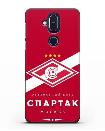 Чехол с логотипом ФК Спартак Москва с красным фоном силикон черный для Nokia 7.1 plus