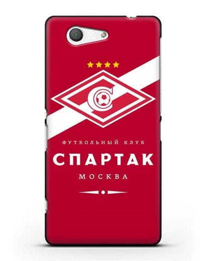Чехол с логотипом ФК Спартак Москва с красным фоном силикон черный для Sony Xperia Z3 Compact