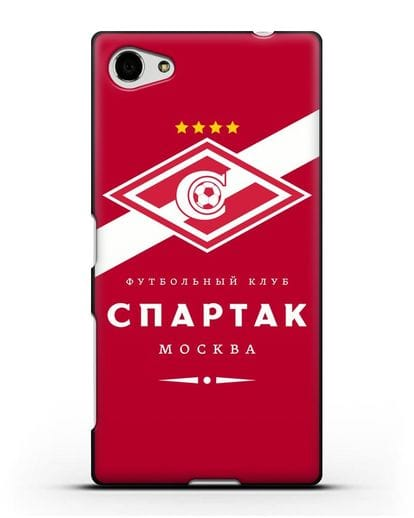 Чехол с логотипом ФК Спартак Москва с красным фоном силикон черный для Sony Xperia Z5 Compact