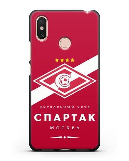Чехол с логотипом ФК Спартак Москва с красным фоном силикон черный для Xiaomi Mi Max 3