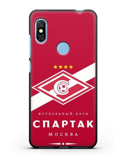 Чехол с логотипом ФК Спартак Москва с красным фоном силикон черный для Xiaomi Redmi Note 6 Pro