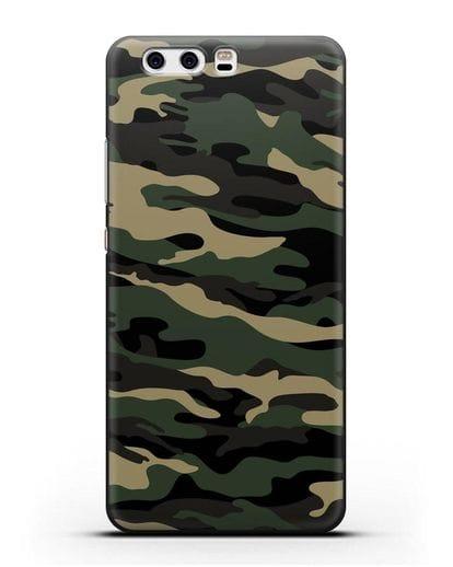 Чехол с армейским рисунком камуфляж вудланд силикон черный для Huawei P10 Plus