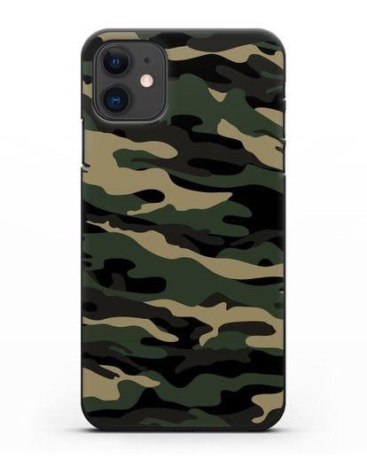 Чехол с армейским рисунком камуфляж вудланд силикон черный для iPhone 11