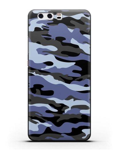 Чехол с рисунком камуфляж синий силикон черный для Huawei P10 Plus