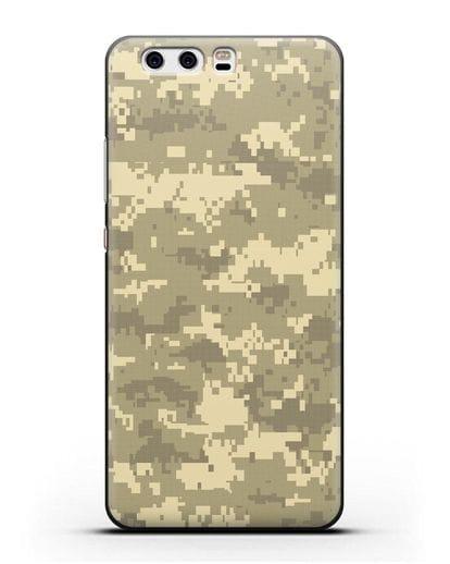 Чехол с армейским рисунком камуфляж песчаный пиксель силикон черный для Huawei P10 Plus