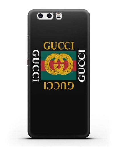 Чехол с логотипом Гуччи силикон черный для Huawei P10 Plus