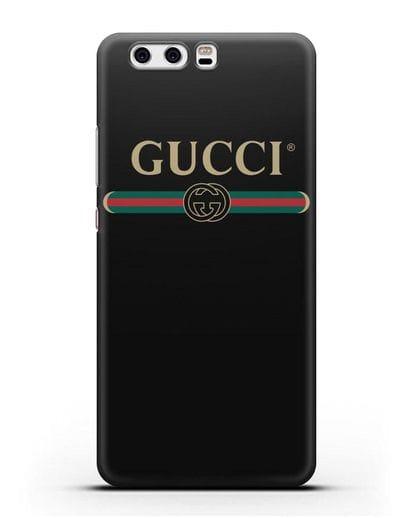 Чехол с эмблемой Gucci силикон черный для Huawei P10 Plus