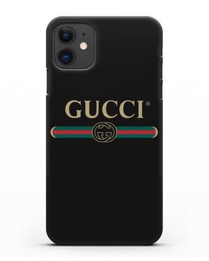 Чехол с эмблемой Gucci силикон черный для iPhone 11