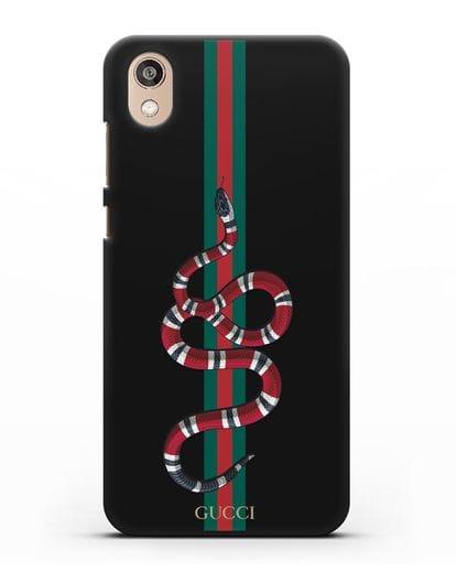 Чехол Гуччи со змеей силикон черный для Honor 8S