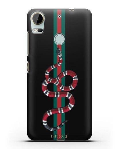 Чехол Гуччи со змеей силикон черный для HTC Desire 10 Pro