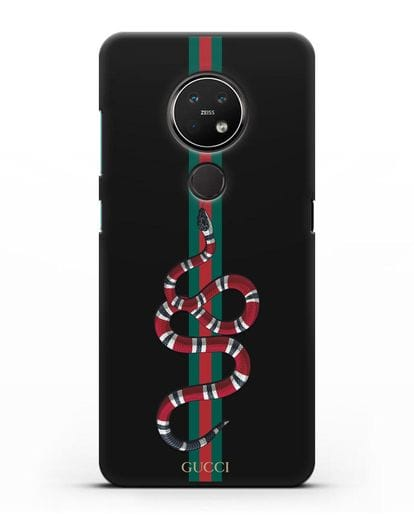 Чехол Гуччи со змеей силикон черный для Nokia 7.2