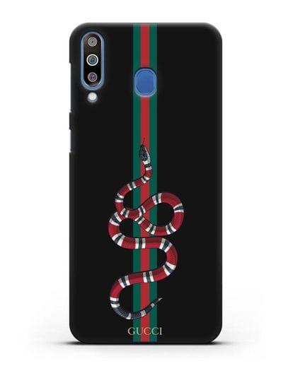 Чехол Гуччи со змеей силикон черный для Samsung Galaxy M30 [SM-M305F]