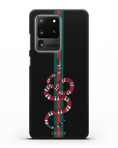 Чехол Гуччи со змеей силикон черный для Samsung Galaxy S20 Ultra [SM-G988B]