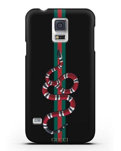 Чехол Гуччи со змеей силикон черный для Samsung Galaxy S5 [SM-G900F]