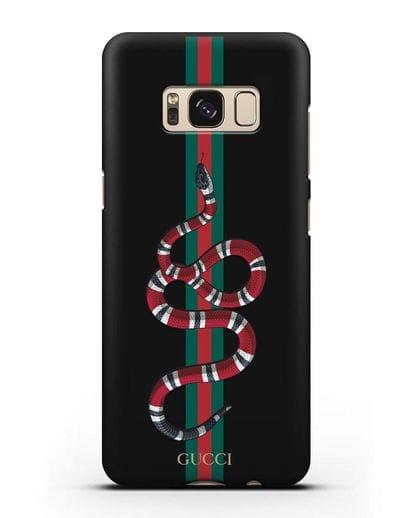 Чехол Гуччи со змеей силикон черный для Samsung Galaxy S8 [SM-950F]