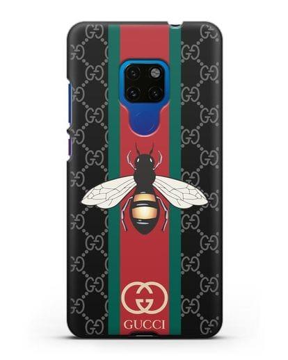 Чехол Гуччи с пчелой силикон черный для Huawei Mate 20