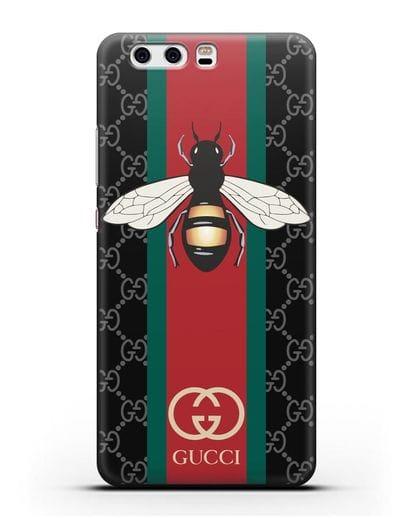 Чехол Гуччи с пчелой силикон черный для Huawei P10 Plus
