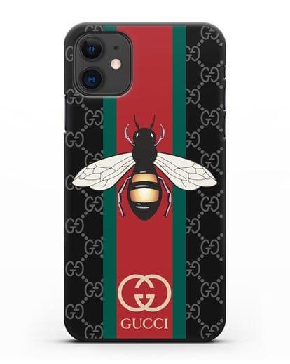Чехол Гуччи с пчелой силикон черный для iPhone 11