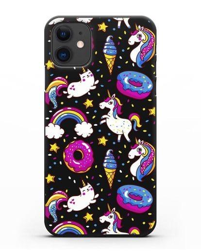 Чехол с дизайном Единороги, пончики, мороженое силикон черный для iPhone 11