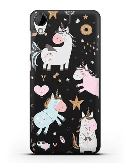 Чехол с дизайном Единороги из мира снов силикон черный для HTC Desire 530