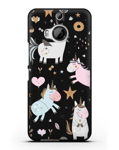 Чехол с дизайном Единороги из мира снов силикон черный для HTC One M9 Plus