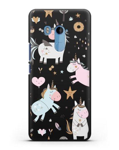 Чехол с дизайном Единороги из мира снов силикон черный для HTC U11 Plus