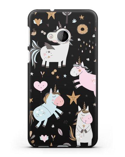 Чехол с дизайном Единороги из мира снов силикон черный для HTC U Play