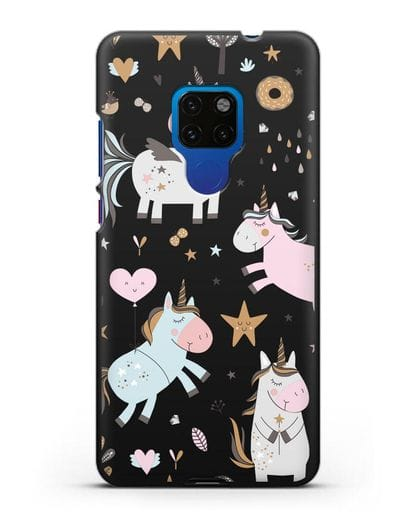 Чехол с дизайном Единороги из мира снов силикон черный для Huawei Mate 20