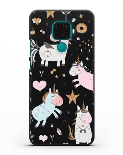 Чехол с дизайном Единороги из мира снов силикон черный для Huawei Mate 30 Lite