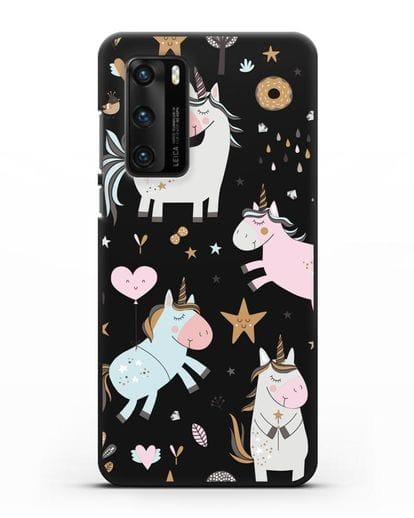 Чехол с дизайном Единороги из мира снов силикон черный для Huawei P40